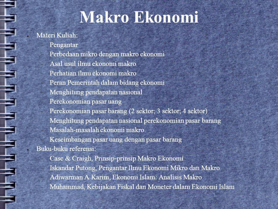 Makro Ekonomi Materi Kuliah:  Pengantar  Perbedaan mikro dengan makro ekonomi  Asal usul ilmu ekonomi makro  Perhatian ilmu ekonomi makro  Peran
