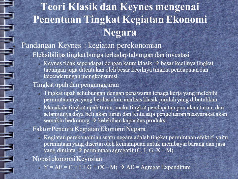 Teori Klasik dan Keynes mengenai Penentuan Tingkat Kegiatan Ekonomi Negara Pandangan Keynes : kegiatan perekonomian  Fleksibilitas tingkat bunga terh