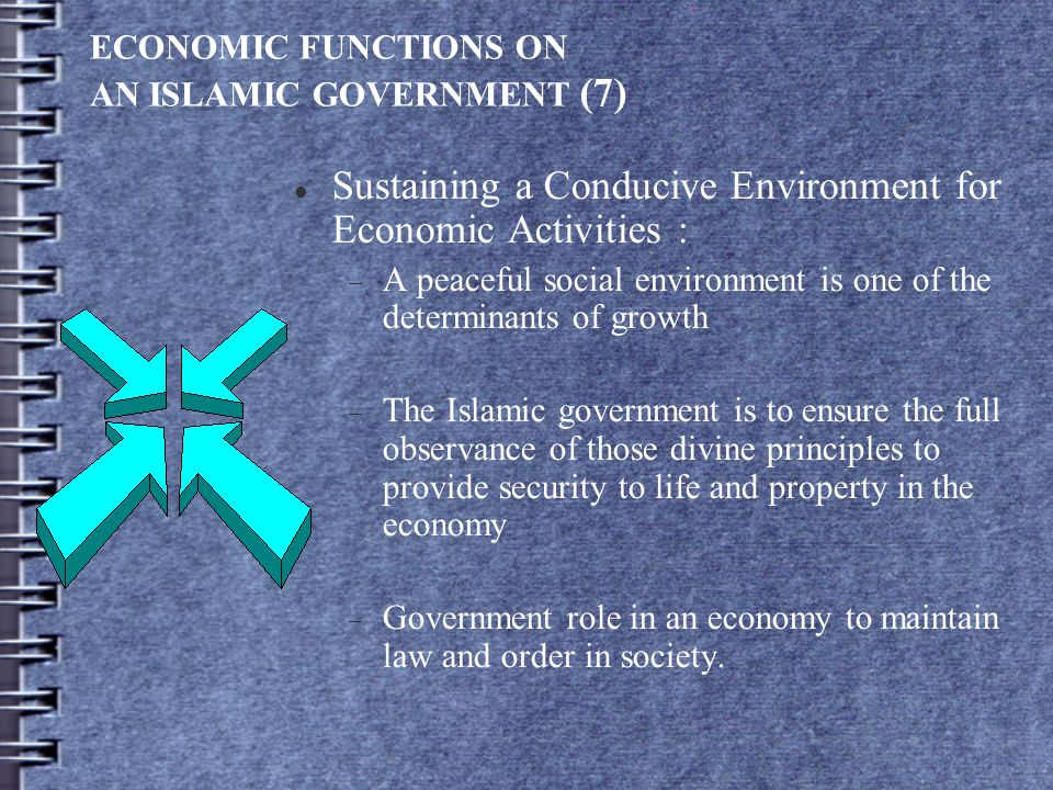 ECONOMIC FUNCTIONS ON AN ISLAMIC GOVERNMENT (7) Sustaining a Conducive Environment for Economic Activities :  A peaceful social environment is one of