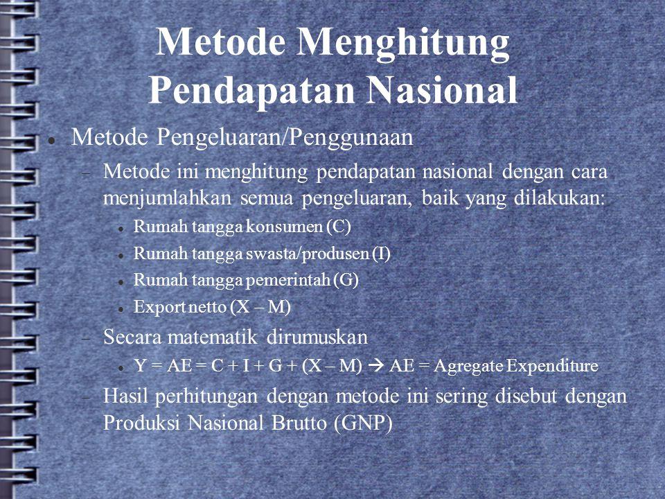 Metode Menghitung Pendapatan Nasional Metode Pengeluaran/Penggunaan  Metode ini menghitung pendapatan nasional dengan cara menjumlahkan semua pengelu