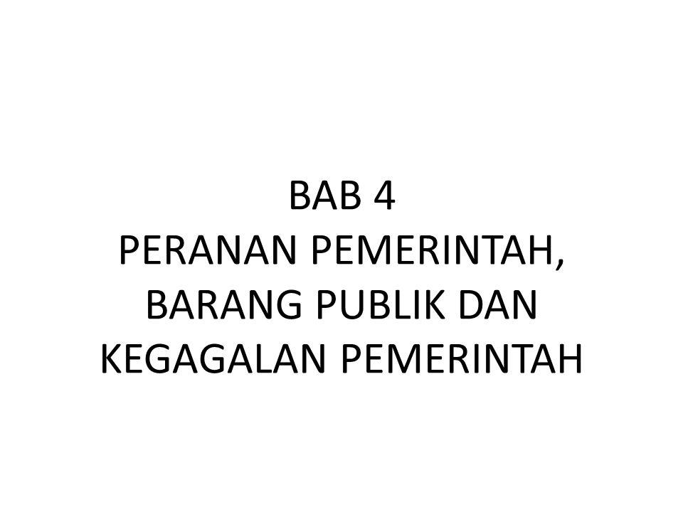 BAB 4 PERANAN PEMERINTAH, BARANG PUBLIK DAN KEGAGALAN PEMERINTAH