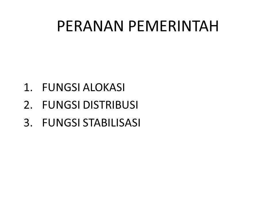 PERANAN PEMERINTAH 1.FUNGSI ALOKASI 2.FUNGSI DISTRIBUSI 3.FUNGSI STABILISASI
