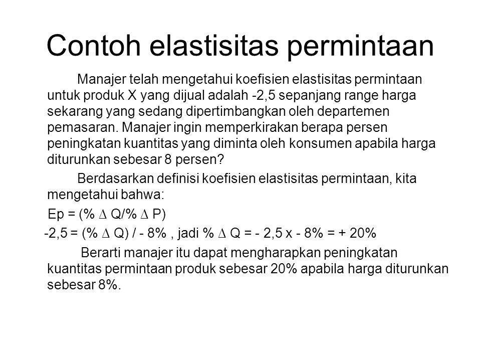 Contoh elastisitas permintaan Manajer telah mengetahui koefisien elastisitas permintaan untuk produk X yang dijual adalah -2,5 sepanjang range harga sekarang yang sedang dipertimbangkan oleh departemen pemasaran.