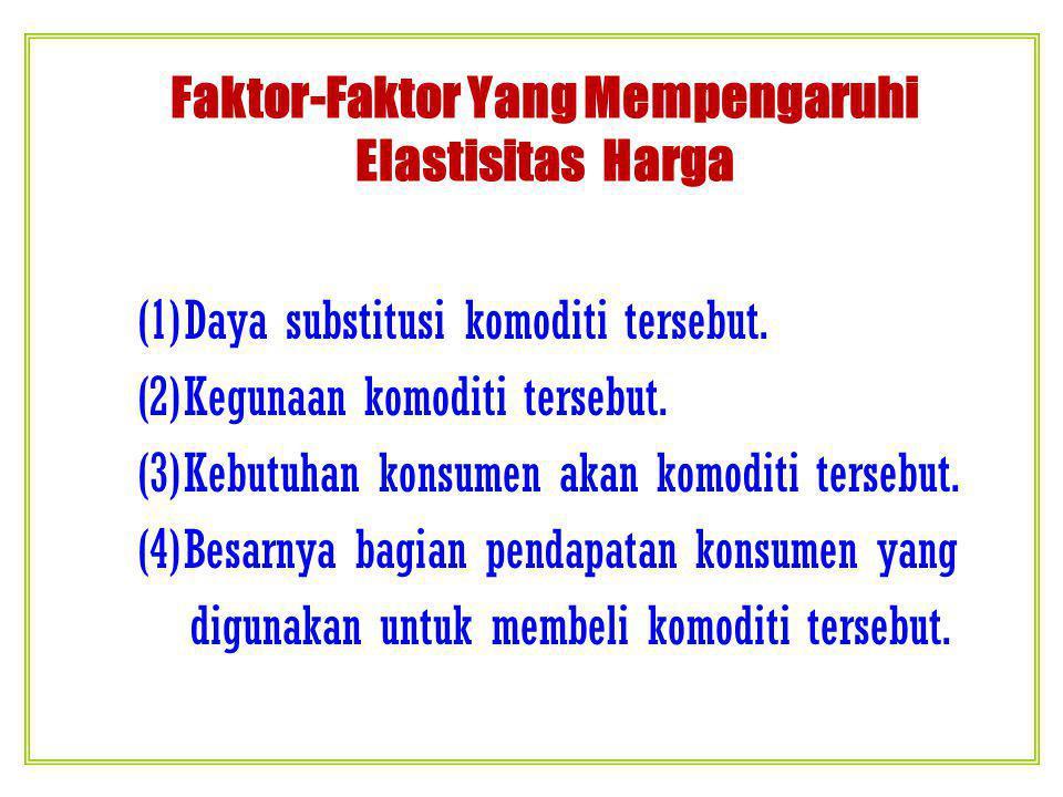 Faktor-Faktor Yang Mempengaruhi Elastisitas Harga (1)Daya substitusi komoditi tersebut.