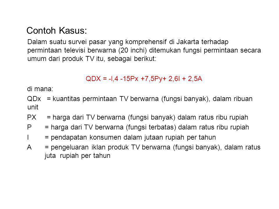 Contoh Kasus: Dalam suatu survei pasar yang komprehensif di Jakarta terhadap permintaan televisi berwarna (20 inchi) ditemukan fungsi permintaan secara umum dari produk TV itu, sebagai berikut: QDX = -l,4 -15Px +7,5Py+ 2,6I + 2,5A di mana: QDx = kuantitas permintaan TV berwarna (fungsi banyak), dalam ribuan unit PX = harga dari TV berwarna (fungsi banyak) dalam ratus ribu rupiah P = harga dari TV berwarna (fungsi terbatas) dalam ratus ribu rupiah I = pendapatan konsumen dalam jutaan rupiah per tahun A = pengeluaran iklan produk TV berwarna (fungsi banyak), dalam ratus juta rupiah per tahun