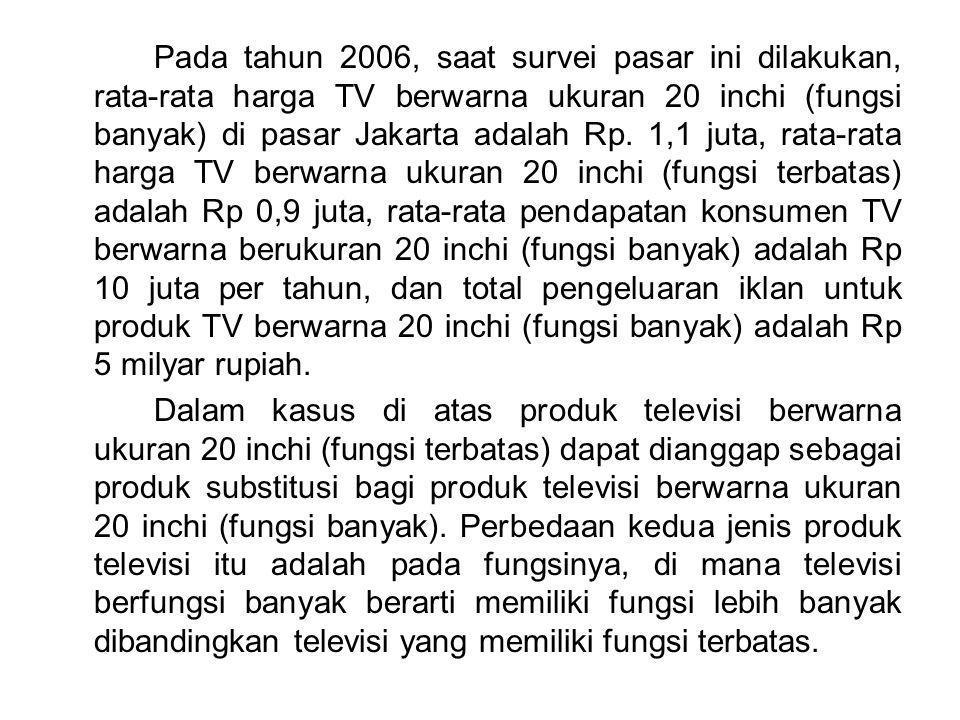 Pada tahun 2006, saat survei pasar ini dilakukan, rata-rata harga TV berwarna ukuran 20 inchi (fungsi banyak) di pasar Jakarta adalah Rp. 1,1 juta, ra