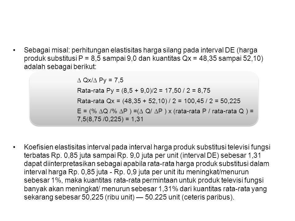 Sebagai misal: perhitungan elastisitas harga silang pada interval DE (harga produk substitusi P = 8,5 sampai 9,0 dan kuantitas Qx = 48,35 sampai 52,10) adalah sebagai berikut: Koefisien elastisitas interval pada interval harga produk substitusi televisi fungsi terbatas Rp.