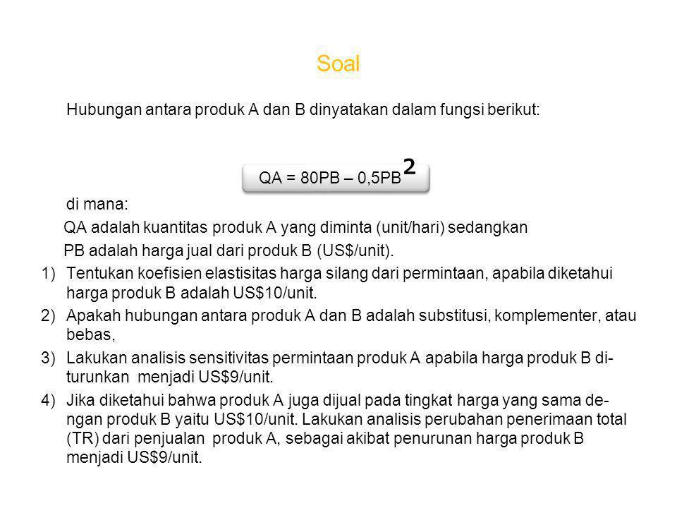 Soal Hubungan antara produk A dan B dinyatakan dalam fungsi berikut: QA = 80PB – 0,5PB ² di mana: QA adalah kuantitas produk A yang diminta (unit/hari) sedangkan PB adalah harga jual dari produk B (US$/unit).