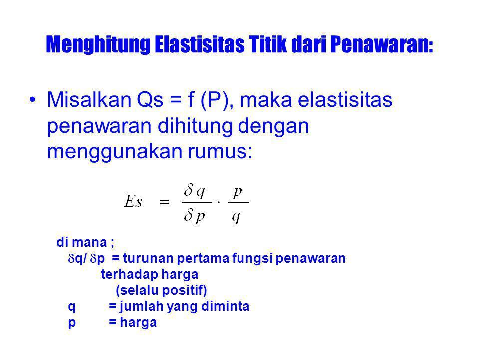 Menghitung Elastisitas Titik dari Penawaran: Misalkan Qs = f (P), maka elastisitas penawaran dihitung dengan menggunakan rumus: di mana ;  q/  p = turunan pertama fungsi penawaran terhadap harga (selalu positif) q = jumlah yang diminta p = harga