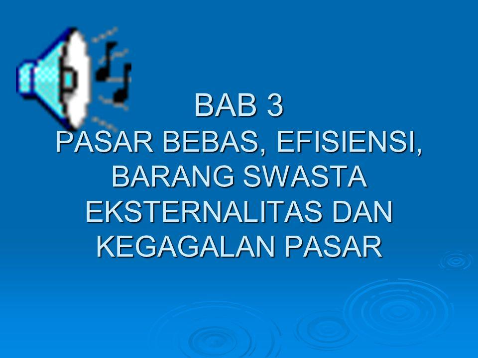 BAB 3 PASAR BEBAS, EFISIENSI, BARANG SWASTA EKSTERNALITAS DAN KEGAGALAN PASAR