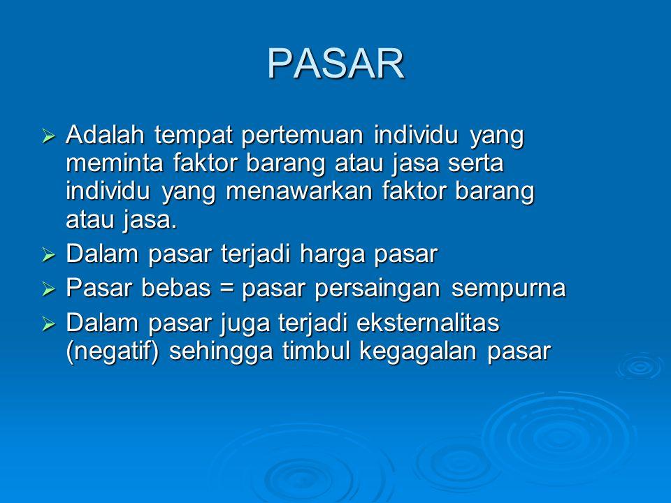 PASAR  Adalah tempat pertemuan individu yang meminta faktor barang atau jasa serta individu yang menawarkan faktor barang atau jasa.  Dalam pasar te