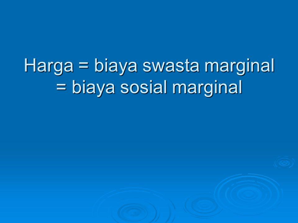 Harga = biaya swasta marginal = biaya sosial marginal