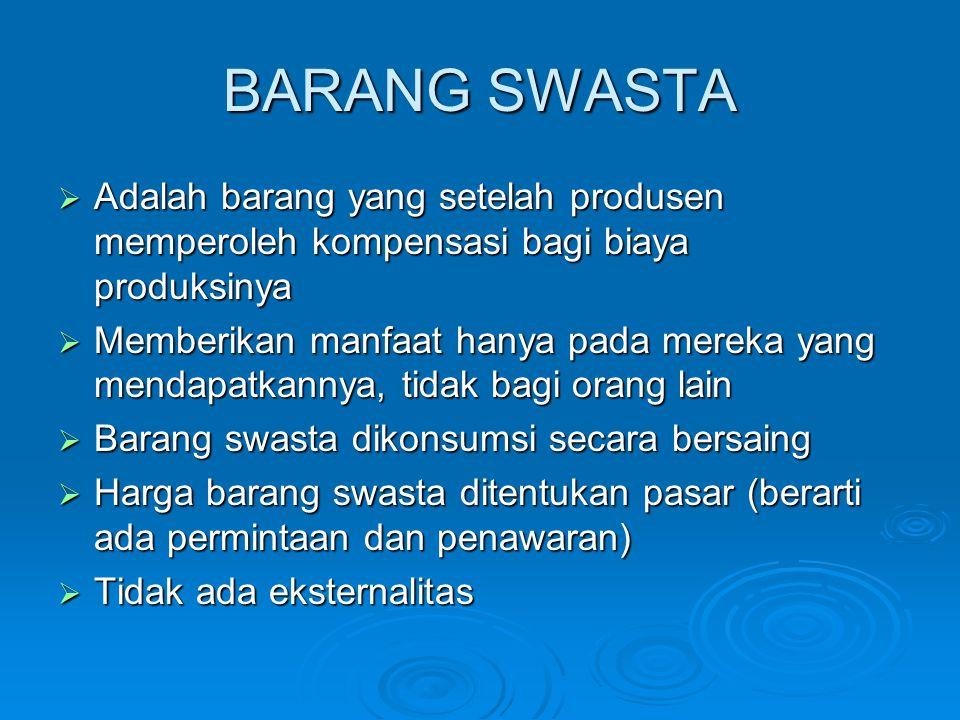 BARANG SWASTA  Adalah barang yang setelah produsen memperoleh kompensasi bagi biaya produksinya  Memberikan manfaat hanya pada mereka yang mendapatk