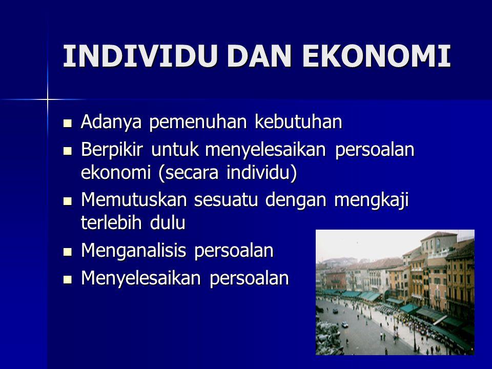 INDIVIDU DAN EKONOMI Adanya pemenuhan kebutuhan Adanya pemenuhan kebutuhan Berpikir untuk menyelesaikan persoalan ekonomi (secara individu) Berpikir u
