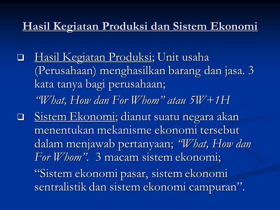 Hasil Kegiatan Produksi dan Sistem Ekonomi  Hasil Kegiatan Produksi; Unit usaha (Perusahaan) menghasilkan barang dan jasa. 3 kata tanya bagi perusaha