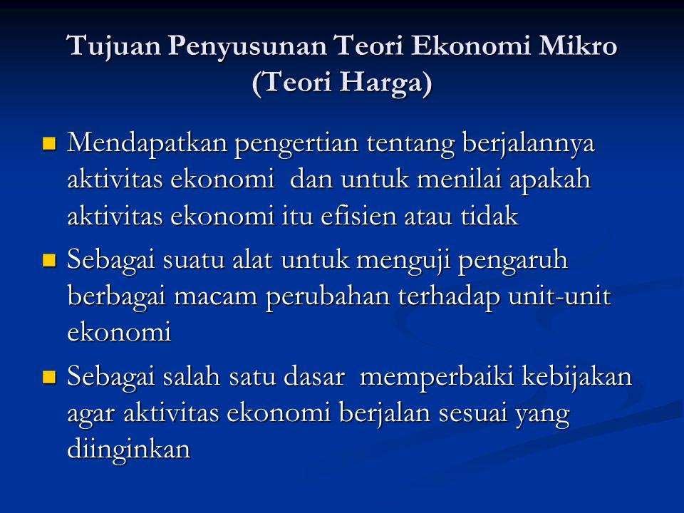 Tujuan Penyusunan Teori Ekonomi Mikro (Teori Harga) Mendapatkan pengertian tentang berjalannya aktivitas ekonomi dan untuk menilai apakah aktivitas ek