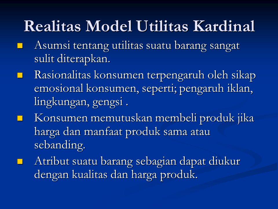 Realitas Model Utilitas Kardinal Asumsi tentang utilitas suatu barang sangat sulit diterapkan.