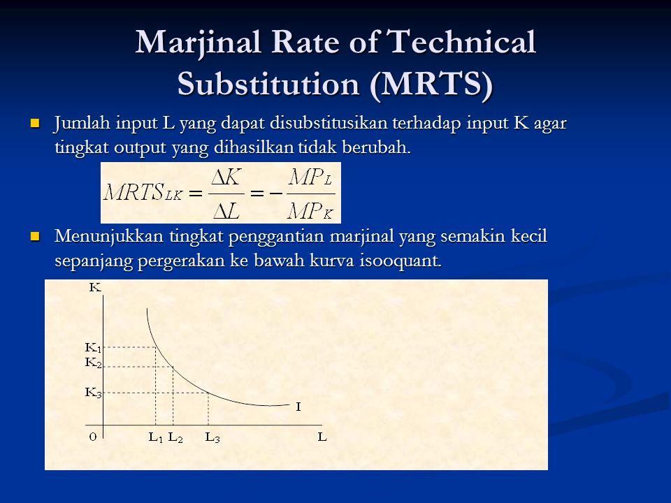 Marjinal Rate of Technical Substitution (MRTS) Jumlah input L yang dapat disubstitusikan terhadap input K agar tingkat output yang dihasilkan tidak be
