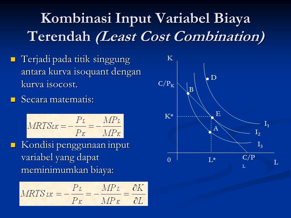 Kombinasi Input Variabel Biaya Terendah (Least Cost Combination) Terjadi pada titik singgung antara kurva isoquant dengan kurva isocost. Terjadi pada