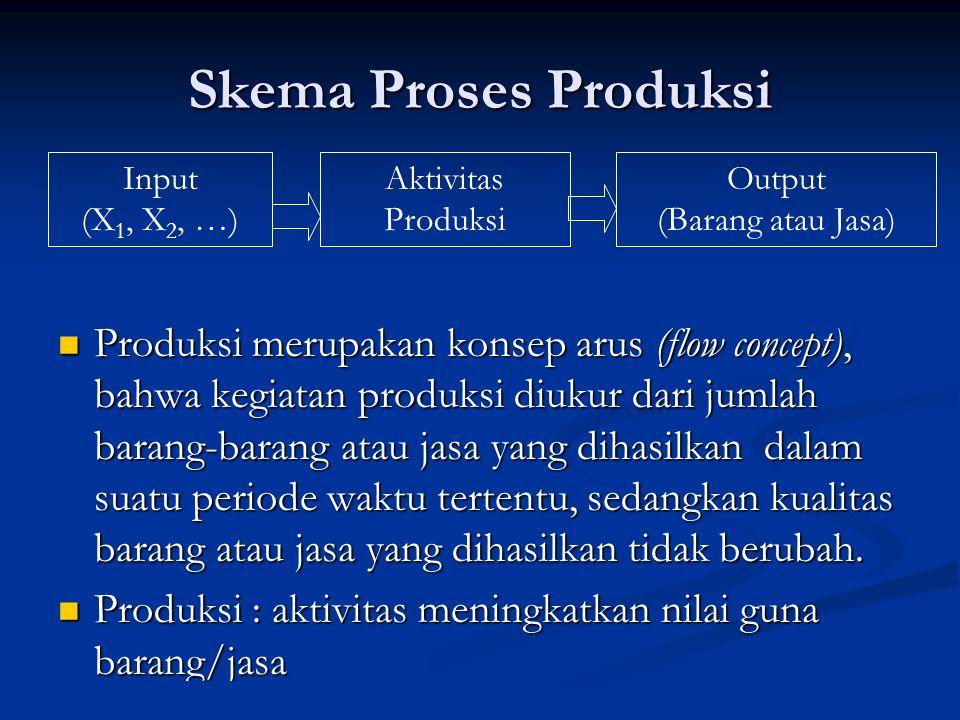 Skema Proses Produksi Input (X 1, X 2, …) Aktivitas Produksi Output (Barang atau Jasa) Produksi merupakan konsep arus (flow concept), bahwa kegiatan p