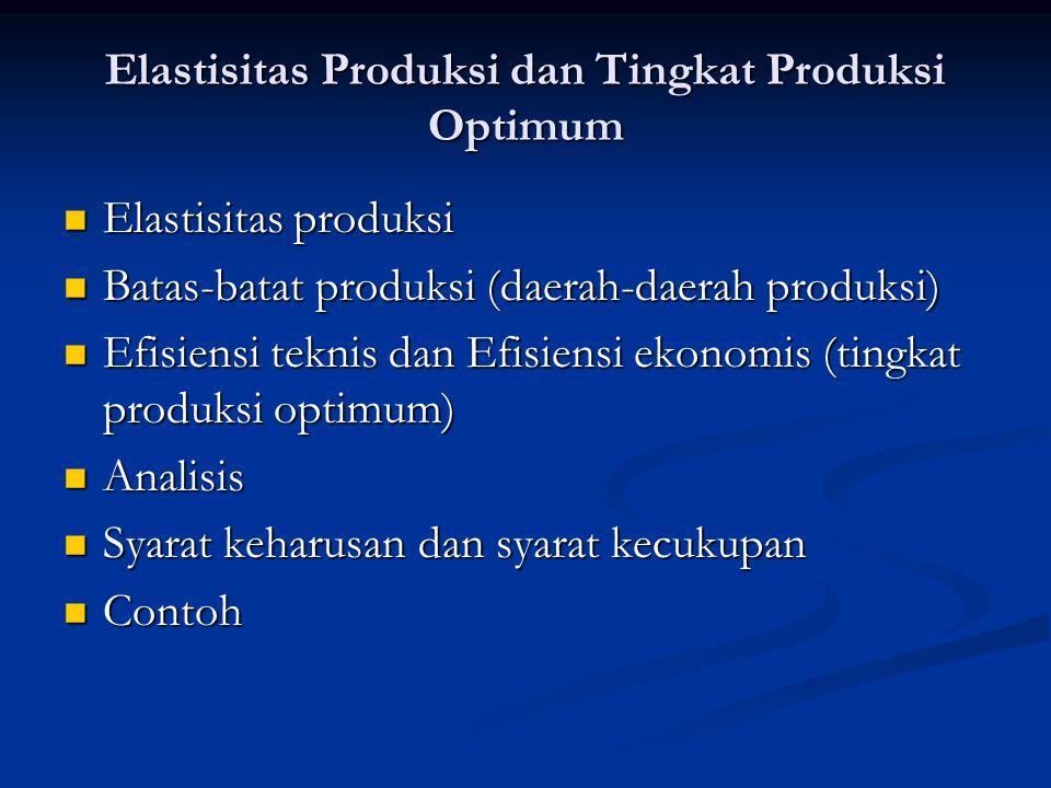 Elastisitas Produksi dan Tingkat Produksi Optimum Elastisitas produksi Elastisitas produksi Batas-batat produksi (daerah-daerah produksi) Batas-batat