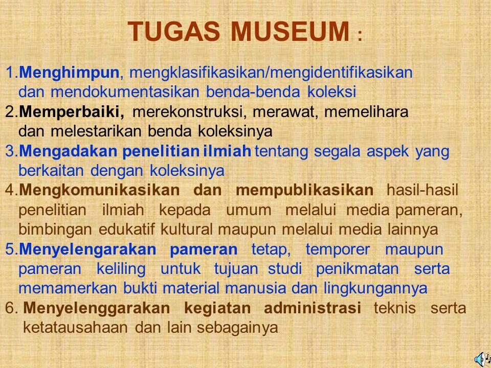 Museum : Setiap badan tetap yang tidak mencari keuntungan yang dalam melayani masyarakat terbuka untuk umum, yang kegiatannya meliputi mengumpulkan, m