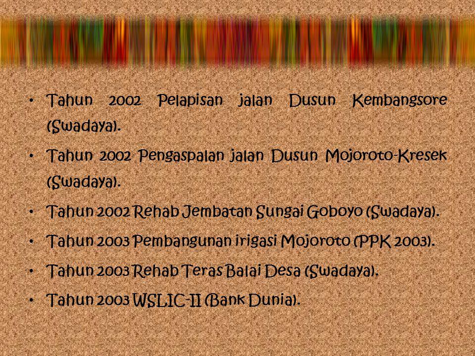 Hasil pembangunan yang telah dicapai di masa Pemerintahan Kepala Desa Purnadi, S.Pd. antara lain: Tahun 1999 Rehab Balai Desa Petak (Swadaya), Tahun 2