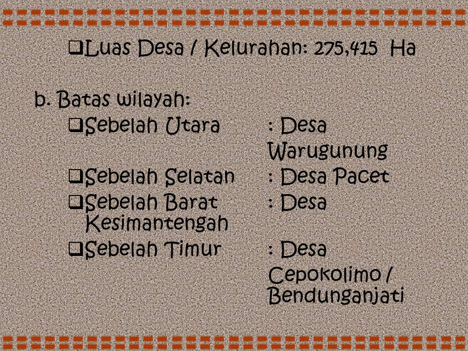 DATA MONOGRAFI DESA DAN KELURAHAN  Desa: Petak  Nomor Kode: -  Kecamatan: Pacet  Kota Administratif: -  Kabupaten / Kodya: Mojokerto  Propinsi: