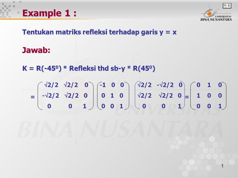1 Example 1 : Tentukan matriks refleksi terhadap garis y = x Jawab: K = R(-45 0 ) * Refleksi thd sb-y * R(45 0 ) =  2/2  2/2 0 -  2/2  2/2 0 0 0 1