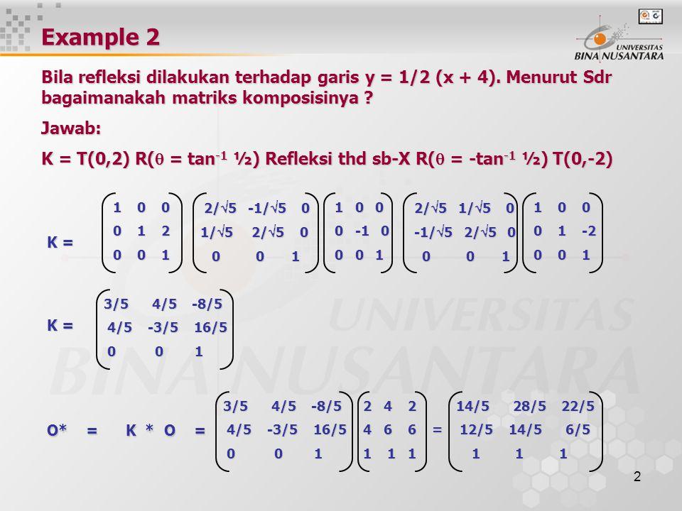 2 K = 1 0 0 1 0 0 0 -1 0 0 -1 0 0 0 1 0 0 1 2/  5 1/  5 0 2/  5 1/  5 0 -1/  5 2/  5 0 -1/  5 2/  5 0 0 0 1 0 0 1 1 0 0 1 0 0 0 1 -2 0 1 -2 0