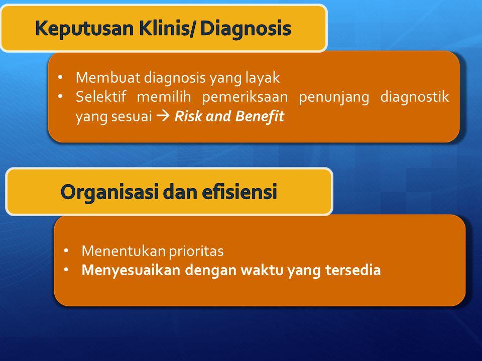 Membuat diagnosis yang layak Selektif memilih pemeriksaan penunjang diagnostik yang sesuai  Risk and Benefit Menentukan prioritas Menyesuaikan dengan