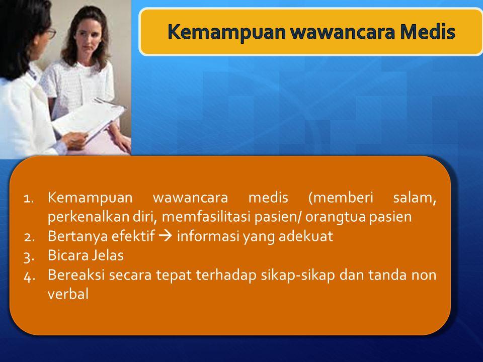 1.Kemampuan wawancara medis (memberi salam, perkenalkan diri, memfasilitasi pasien/ orangtua pasien 2.Bertanya efektif  informasi yang adekuat 3.Bicara Jelas 4.Bereaksi secara tepat terhadap sikap-sikap dan tanda non verbal