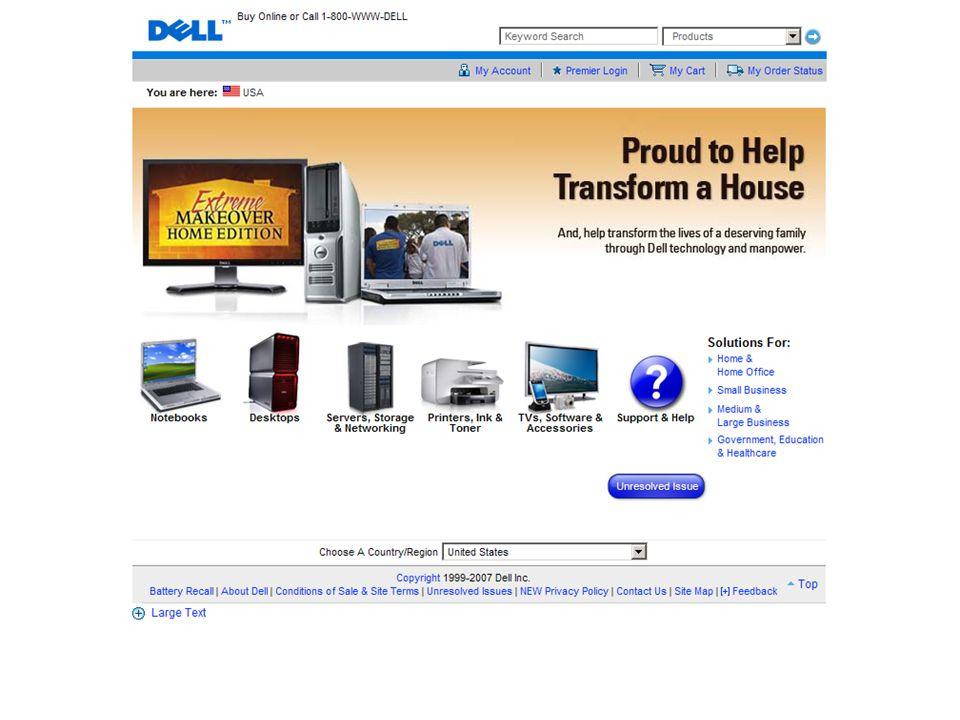 The Problem/Opportunity Didirikan 1985 oleh Michael Dell (Dell Computer Corp) Yang pertama menjual komputer lewat pos Merancang sendiri konfigurasi PC-nya Mengijinkan konsumen melakukan kustomisasi pd komputer pesanannya Tahun 1993 Dell termasuk penjual komputer 5 besar dunia Compaq yang terancam, melakukan perang harga Dell kalang kabut, tahun 1994 rugi lebih dari $100 juta