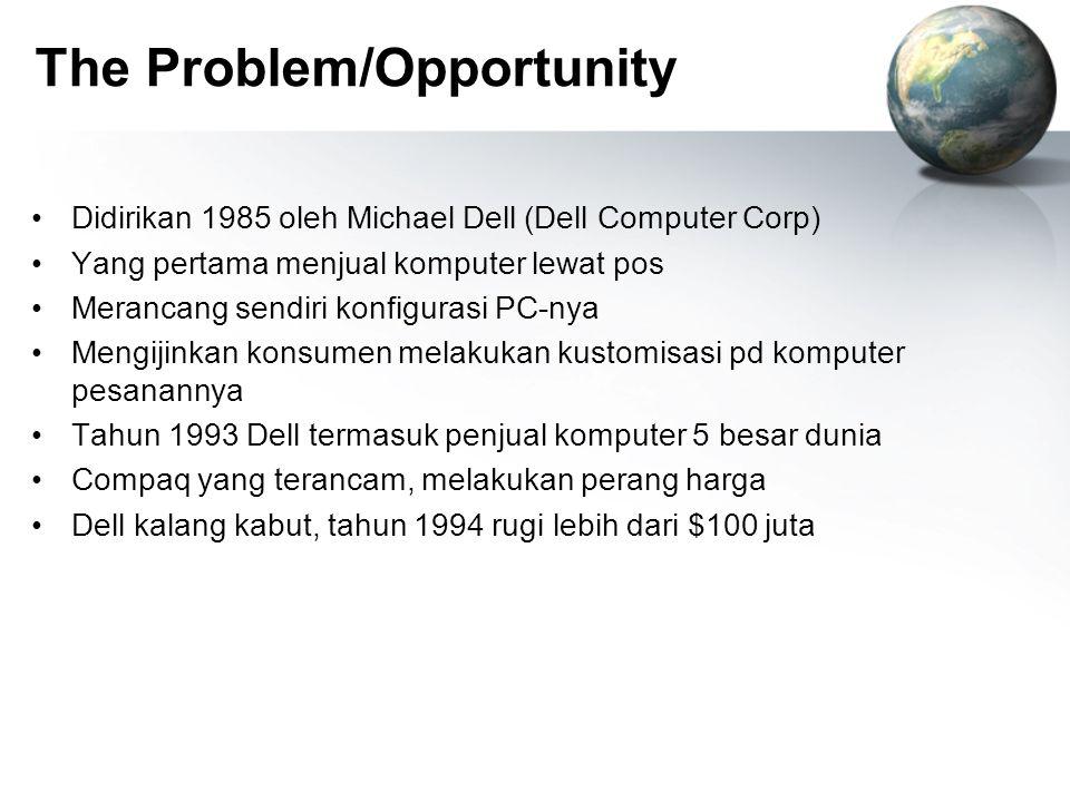 The Problem/Opportunity Didirikan 1985 oleh Michael Dell (Dell Computer Corp) Yang pertama menjual komputer lewat pos Merancang sendiri konfigurasi PC