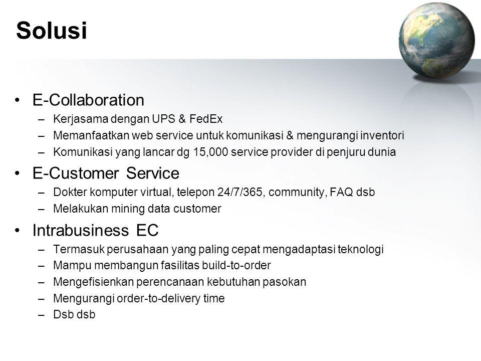 Solusi E-Collaboration –Kerjasama dengan UPS & FedEx –Memanfaatkan web service untuk komunikasi & mengurangi inventori –Komunikasi yang lancar dg 15,0