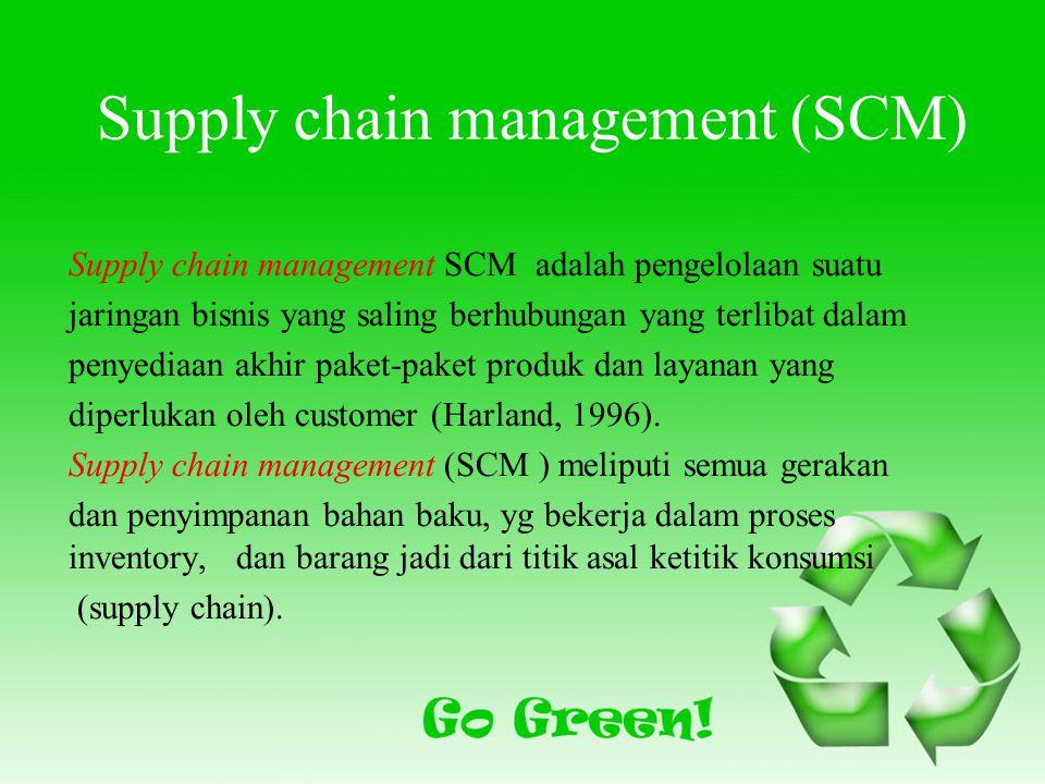 Supply chain management (SCM) Supply chain management SCM adalah pengelolaan suatu jaringan bisnis yang saling berhubungan yang terlibat dalam penyediaan akhir paket-paket produk dan layanan yang diperlukan oleh customer (Harland, 1996).