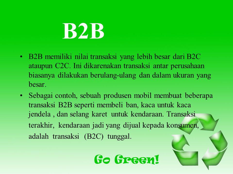 B2B B2B memiliki nilai transaksi yang lebih besar dari B2C ataupun C2C.