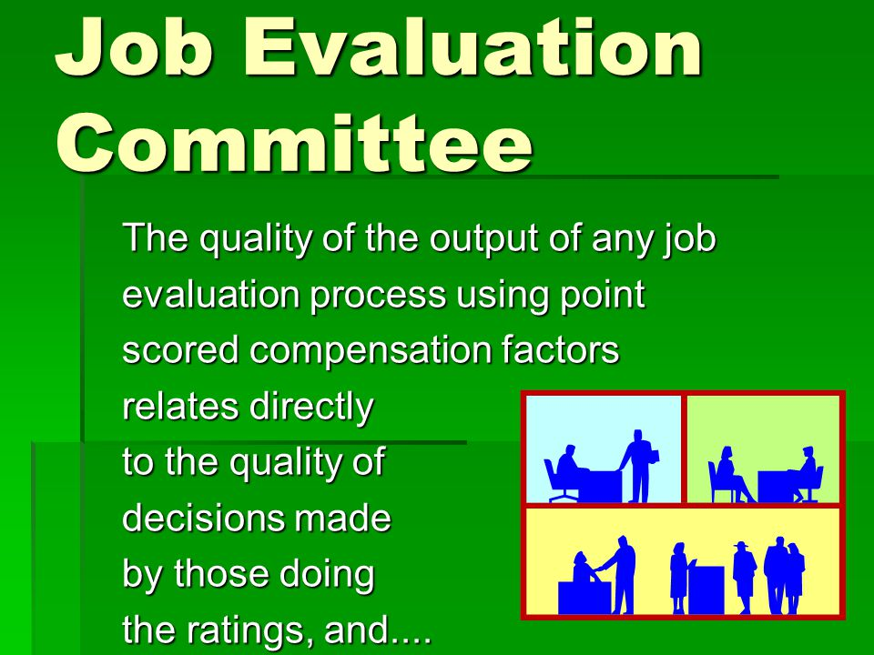 Characteristics of the Point Method of Job Evaluation : Factors, Scaled Degrees, Weights (1) Factors(2) Degrees (3) Weights Skills required Effort required Responsibility Working conditions 1 2 3 4 5 40 % 30 % 20 % 10 %
