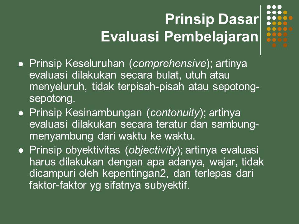 Prinsip Dasar Evaluasi Pembelajaran Prinsip Keseluruhan (comprehensive); artinya evaluasi dilakukan secara bulat, utuh atau menyeluruh, tidak terpisah