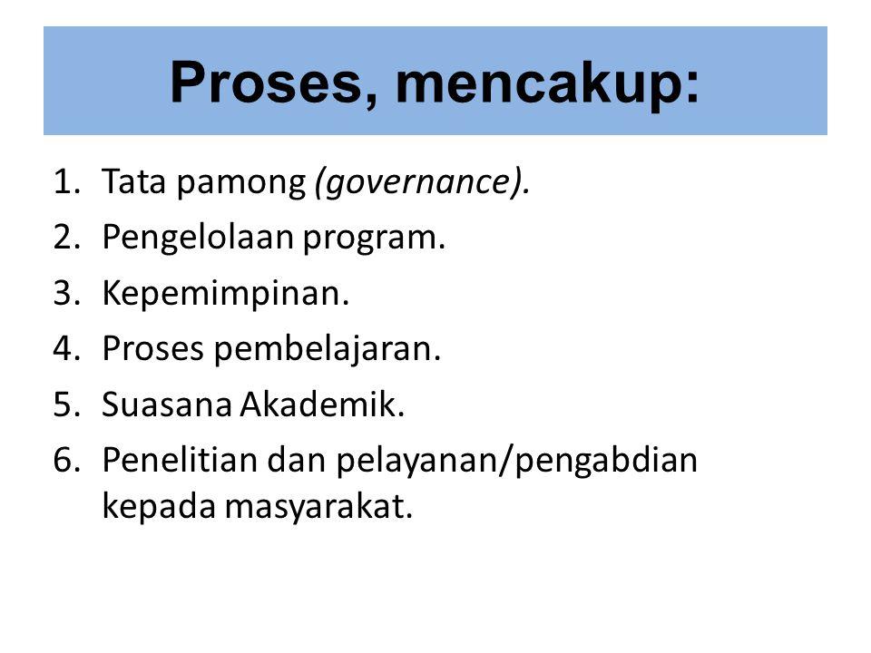 Proses, mencakup: 1.Tata pamong (governance).2.Pengelolaan program.