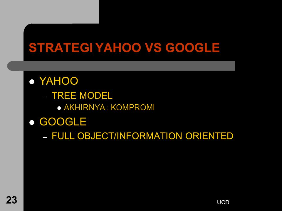 UCD 23 STRATEGI YAHOO VS GOOGLE YAHOO – TREE MODEL AKHIRNYA : KOMPROMI GOOGLE – FULL OBJECT/INFORMATION ORIENTED
