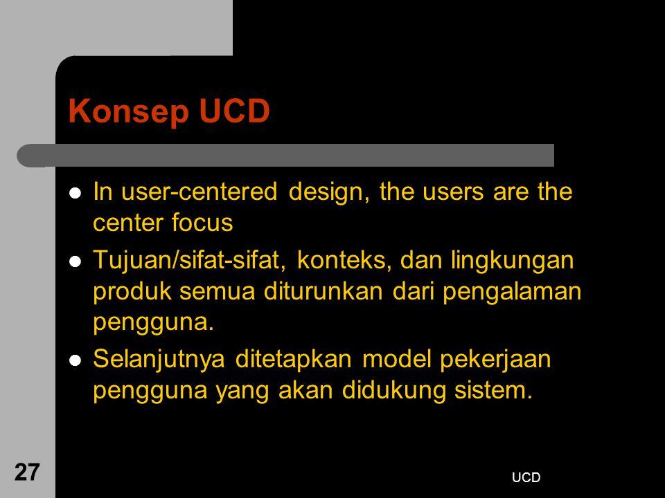 UCD 27 Konsep UCD In user-centered design, the users are the center focus Tujuan/sifat-sifat, konteks, dan lingkungan produk semua diturunkan dari pen