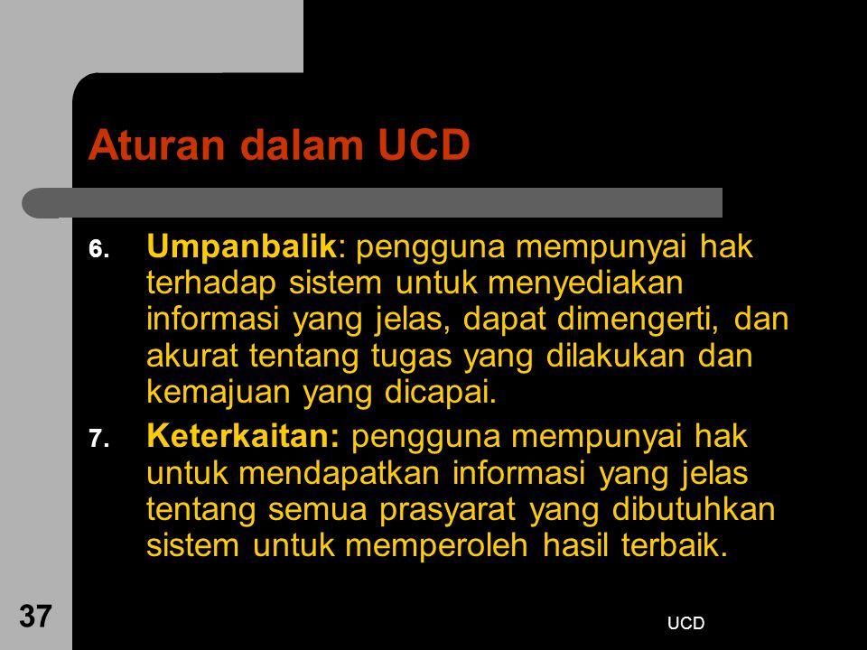 UCD 37 Aturan dalam UCD 6. Umpanbalik: pengguna mempunyai hak terhadap sistem untuk menyediakan informasi yang jelas, dapat dimengerti, dan akurat ten