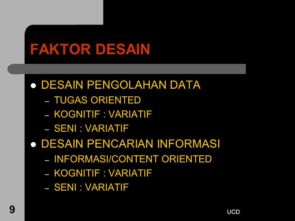 UCD 9 FAKTOR DESAIN DESAIN PENGOLAHAN DATA – TUGAS ORIENTED – KOGNITIF : VARIATIF – SENI : VARIATIF DESAIN PENCARIAN INFORMASI – INFORMASI/CONTENT ORI