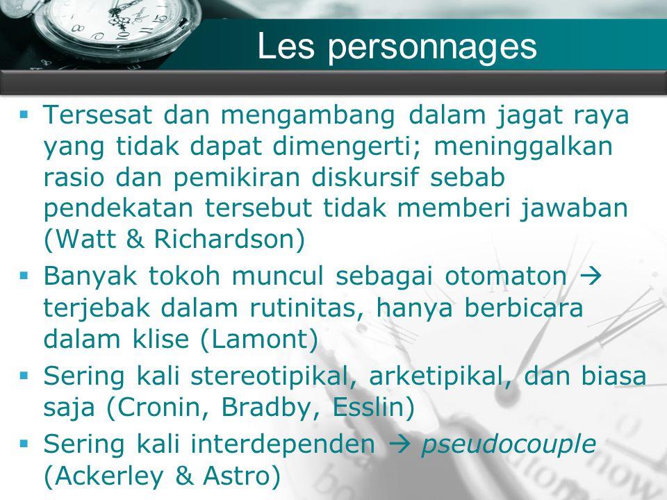 Company name Les personnages  Tersesat dan mengambang dalam jagat raya yang tidak dapat dimengerti; meninggalkan rasio dan pemikiran diskursif sebab