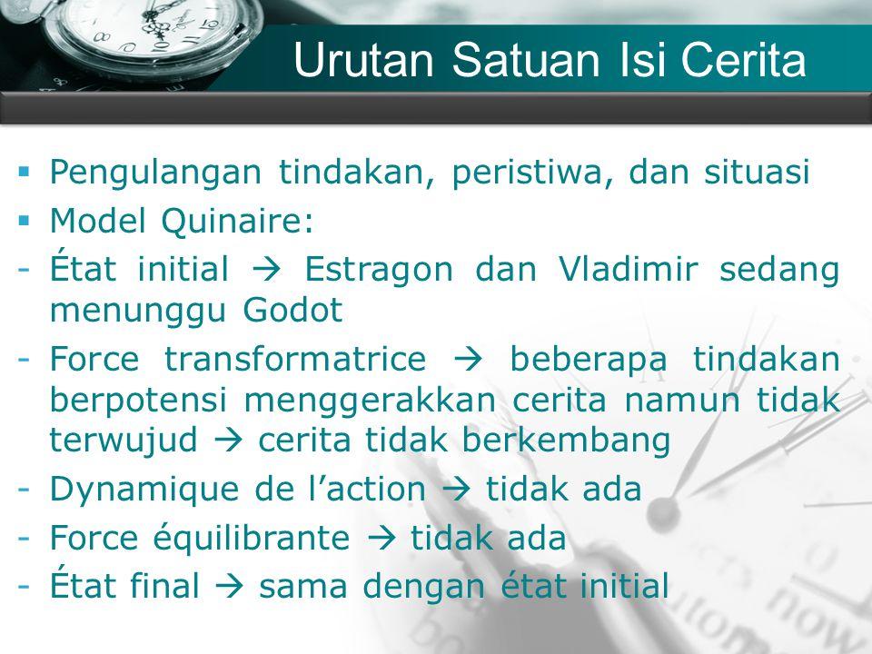 Company name Urutan Satuan Isi Cerita  Pengulangan tindakan, peristiwa, dan situasi  Model Quinaire: -État initial  Estragon dan Vladimir sedang me