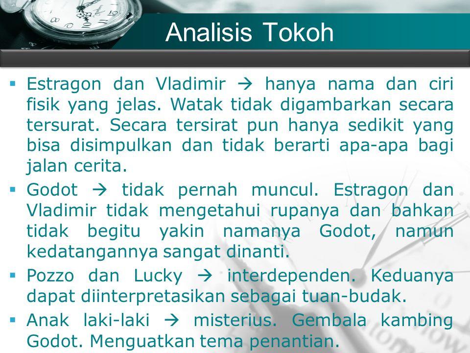 Company name Analisis Tokoh  Estragon dan Vladimir  hanya nama dan ciri fisik yang jelas. Watak tidak digambarkan secara tersurat. Secara tersirat p