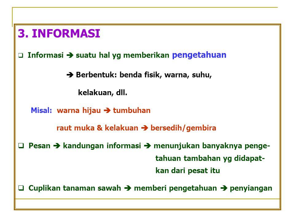 3. INFORMASI  Informasi  suatu hal yg memberikan pengetahuan  Berbentuk: benda fisik, warna, suhu, kelakuan, dll. Misal: warna hijau  tumbuhan rau
