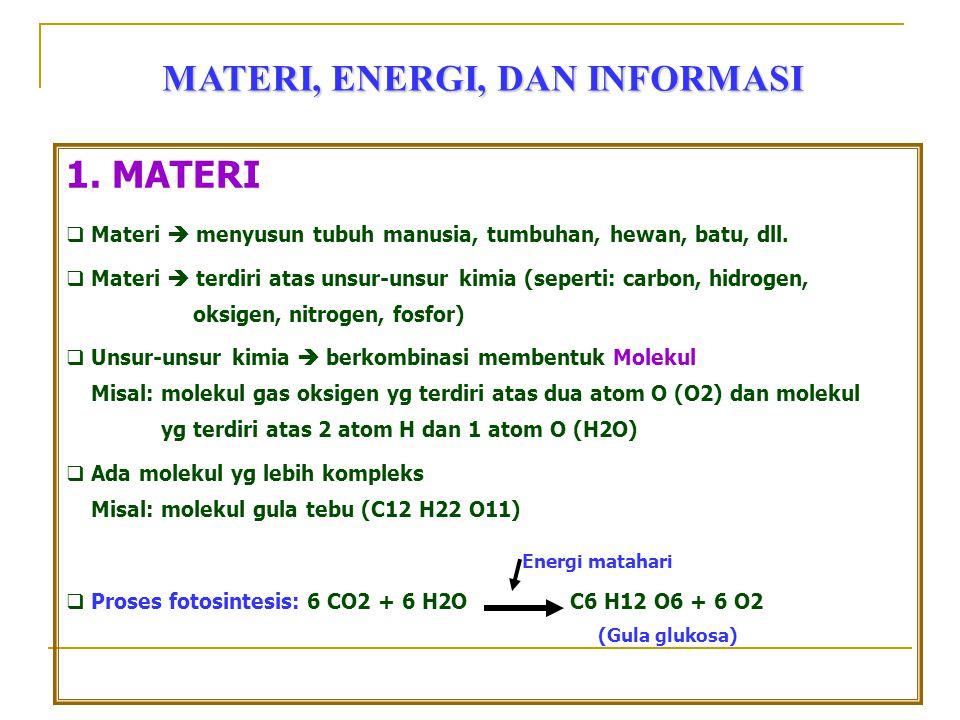 MATERI, ENERGI, DAN INFORMASI 1. MATERI  Materi  menyusun tubuh manusia, tumbuhan, hewan, batu, dll.  Materi  terdiri atas unsur-unsur kimia (sepe