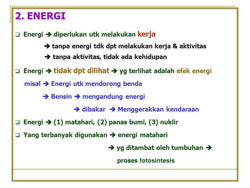 2. ENERGI  Energi  diperlukan utk melakukan kerja  tanpa energi tdk dpt melakukan kerja & aktivitas  tanpa aktivitas, tidak ada kehidupan  Energi
